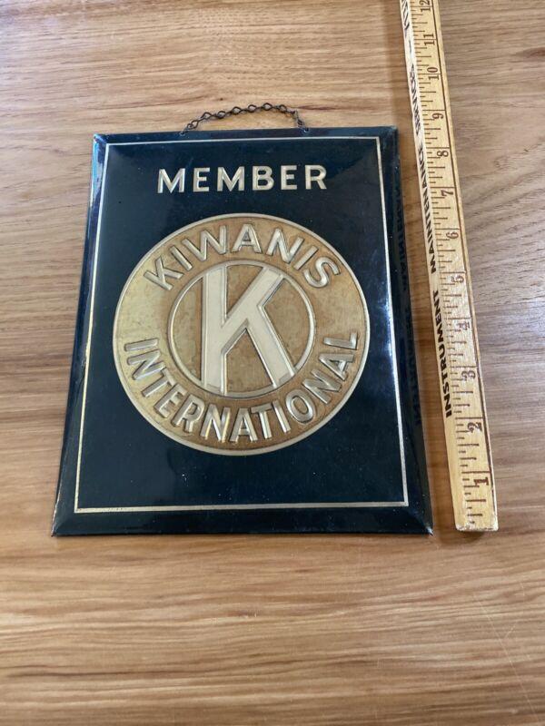 "Vintage Kiwanis International Metal Sign 9"" With Hanging Chain Card Backing"