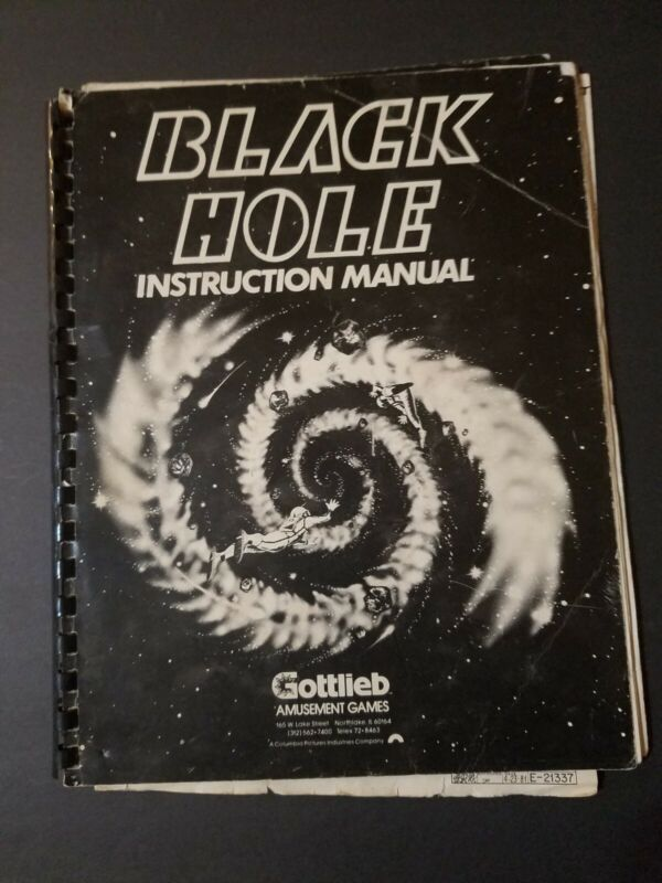 Original Black Hole Instruction Manual - Schematics Pinball Arcade Gottlieb RARE