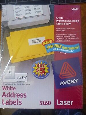 Avery 5160 Mailing Address Labels Laser 1 X 2 58 White 3000