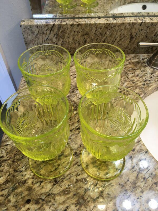 4 Vaseline glass Dahlia goblets uranium