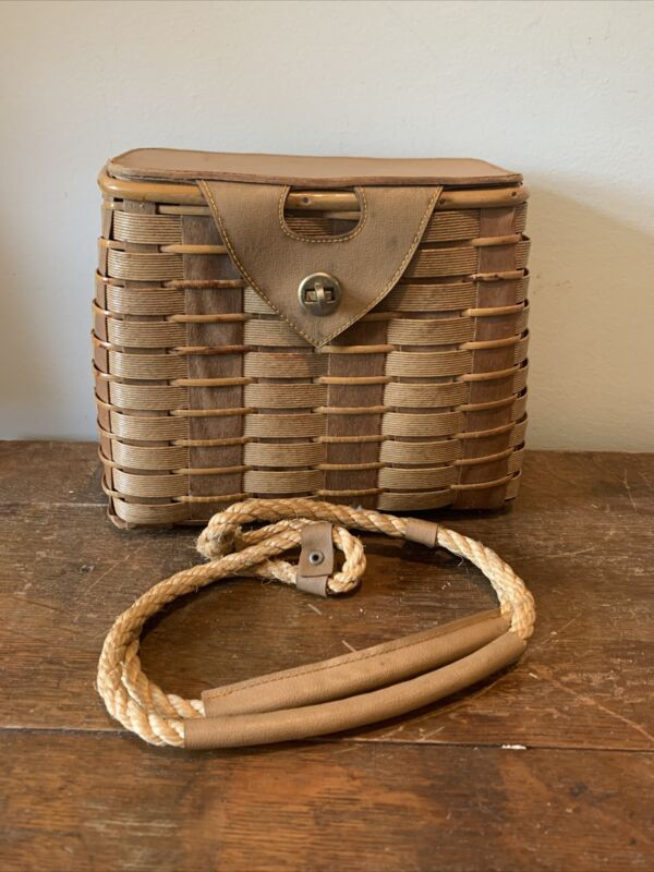Wicker Creel   Basket Vintage Fisherman Traps Pouch Cage Tackle Case Bag Fiahing