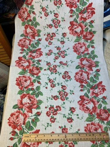 Vintage Linen Kitchen TOWELING TOWEL FABRIC Chic Shabby Roses UNUSED EXC XLG