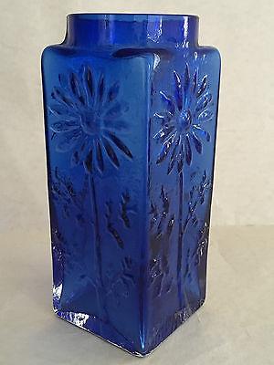 Vintage DARTINGTON FT228 Marguerite FRANK THROWER Blue Art Glass Vase 1968-79