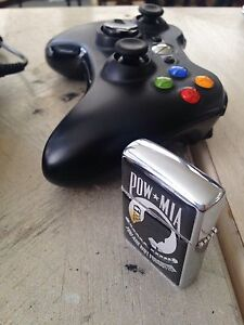 Xbox 360 controller w/battery pack + POW MIA Memorial Zippo