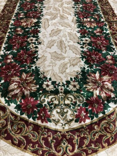 Tablecloth Christmas Fruit Wreath Gold and Maroon