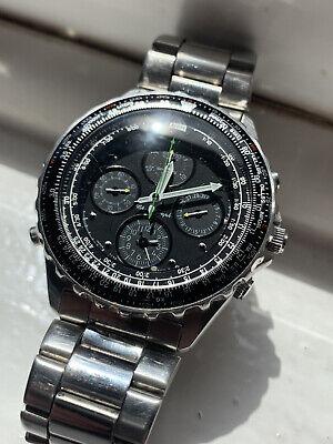 Mens Rare Seiko Flightmaster Quartz Sports 150 Chronograph Watch 7T34-6A00 FWO