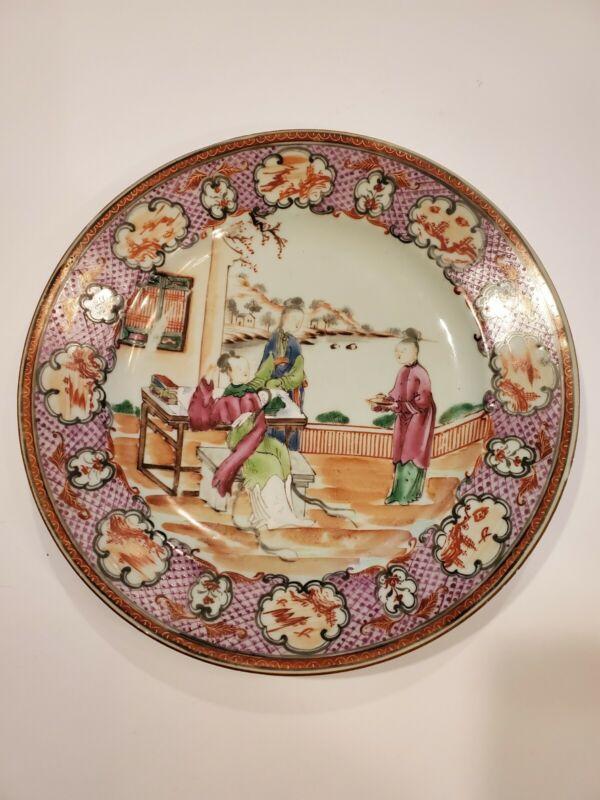 Antique Chinese Export Rose Mandarin Plate