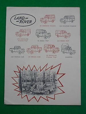 1960's LAND ROVER 88 109 BROCHURE (STATION WAGON TRUCK CAMPER AMERICA US)