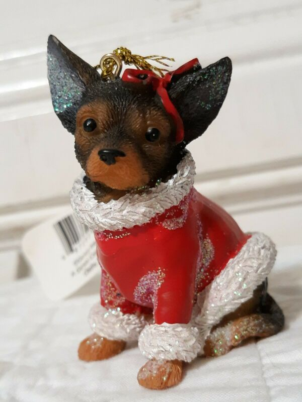 "NEW DARLING CHIHUAHUA WEARING A SANTA COAT CHRISTMAS ORNAMENT 2.5 "" in Tall"