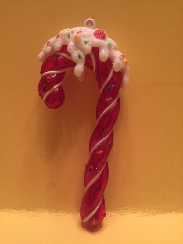 Candy Cane Christmas Tree Ornament Red With White Frosting On Top & Sprinkles