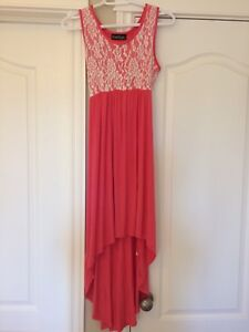 Coral & Ivory Lace Top Maternity Hi-Lo Dress
