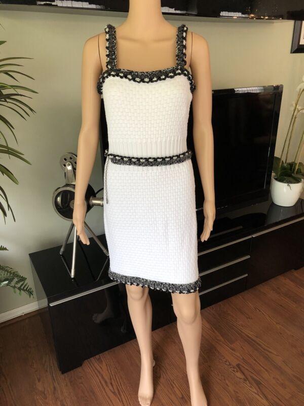 New Chanel Runway Sexy Knit Iconic White Mini Dress Fr 40