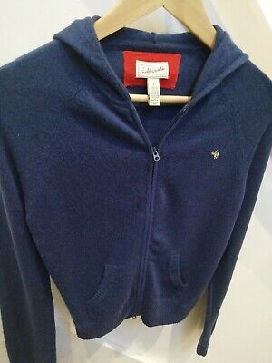 Abercrombie & Fitch womens wool cashmere mix navy hoodie zipper cardigan size L