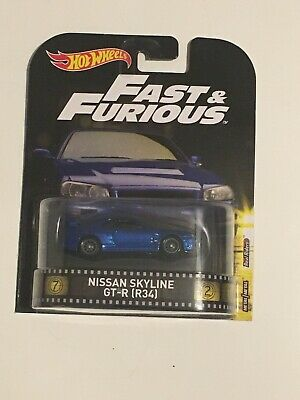HOT WHEELS 2017 RETRO FAST & FURIOUS NISSAN SKYLINE GT-R R34