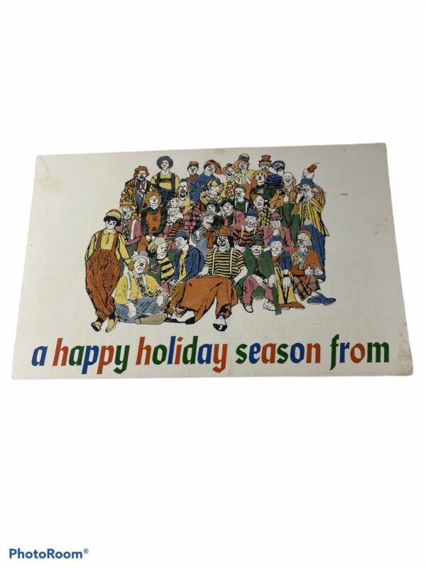 Ringling Bros Barnum Bailey Circus Christmas Card Vintage Unsigned Clowns Animal
