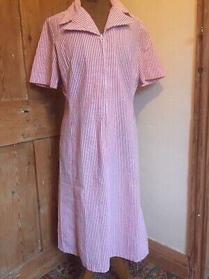 Genuine true vintage Horrockses fashions dress 1960s 1970s pink candy striped