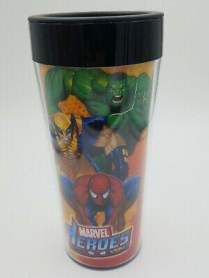 Marvel Heroes Plastic Travel Coffee Mug Comic Tumbler Hulk Wolverine Spiderman