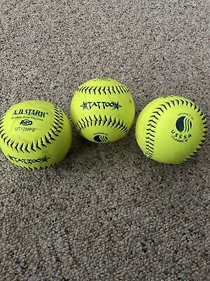 3- TATTOO SOFTBALLS  USSSA- Used Slow pitch Softballs