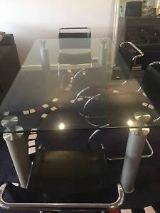 Glass Dining room table and 4 leather chairs Lilyfield Leichhardt Area Preview