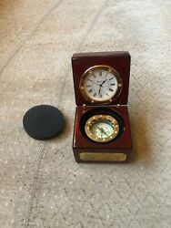 Bey Berk Compass & Clock In Lacquered Rosewood Hinged Box For Merrill Lynch