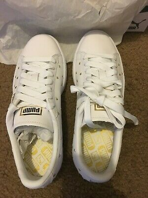 Puma Basket Heart Studs Sneakers White/Gold Size 5.5
