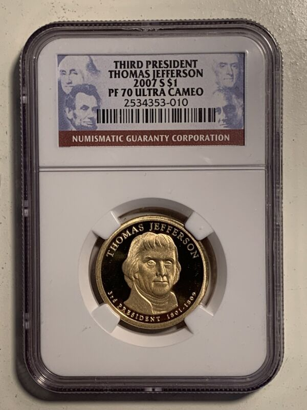 2007 Third President Thomas Jefferson Proof 70 Ultra Cameo NGC Certified Coin
