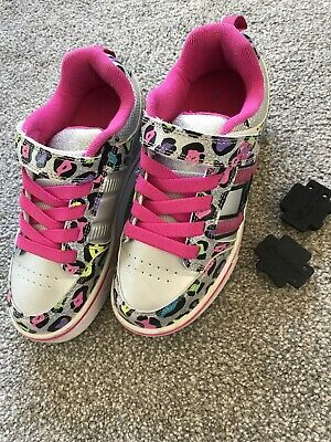 Girls Heelys UK Size 2 In Grey/Pink Multi-Colour Leopard Print
