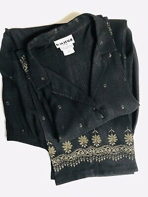 JOAN LESLIE Petites Women's 2 pc Pant Suit 14P Blouse & Capris Black/Gold