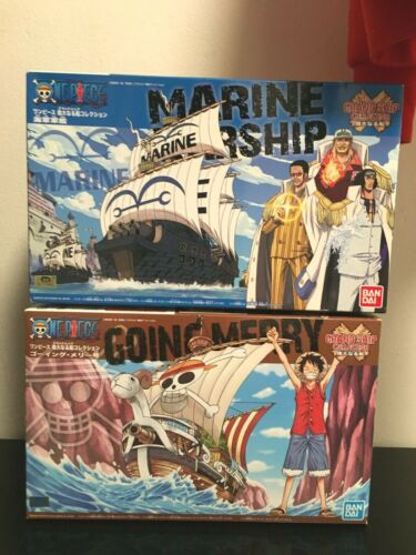 bandai One Piece going merry grand ship & Marine Warship Plastic Model lot 2
