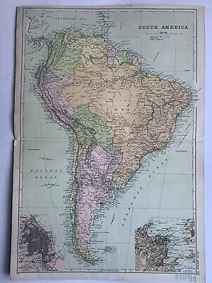 1908 South America Antique Map by G.W. Bacon inset plans of Rio & Buenos Aires
