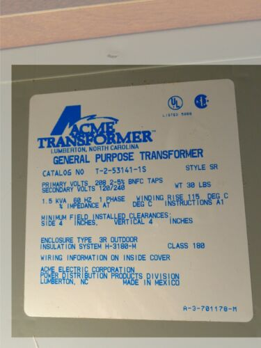 Acme 1.5 KVA General Purpose Transformer T-2-53141-1S  Style SR
