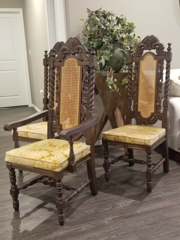 SET 8 ANTIQUE HEAVILY CARVED RENAISSANCE BARLEY TWIST CANE BACK DINING CHAIRS
