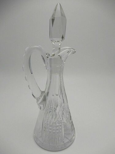 Vintage Crystal Cruet Star Design with Faceted Stopper 8 Inch Numbered