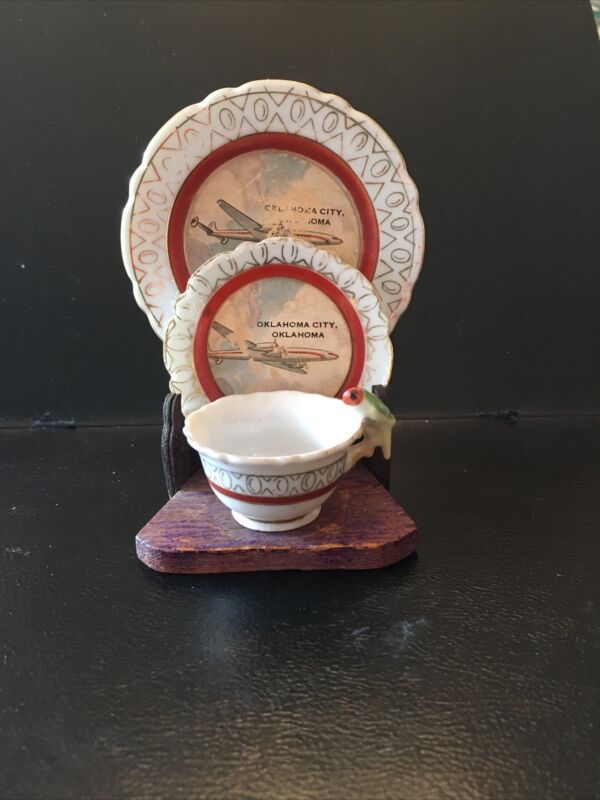 Airplane Airline Mini Dish Tea Cup Parakeet Set Gold Japan Oklahoma City Vintage