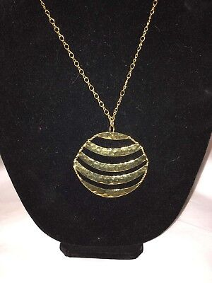 Joan Rivers Gold Tone Hammered Gold Circle Necklace