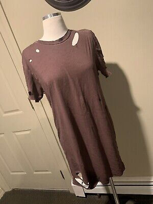 RARE ARMY OF ME - DISTRESSED CUT OUT BROWN SHORT SLEEVE T SHIRT - SIZE SMALL