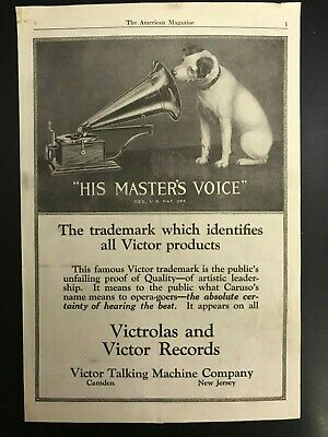 1920 VICTOR RECORD PLAYER TALKING MACHINE HIS MASTERS VOICE ORIG VINTAGE AD