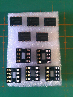 NE555 Timer Chips + IC Holders - 5 Pack- IC PCB - Free UK P&P