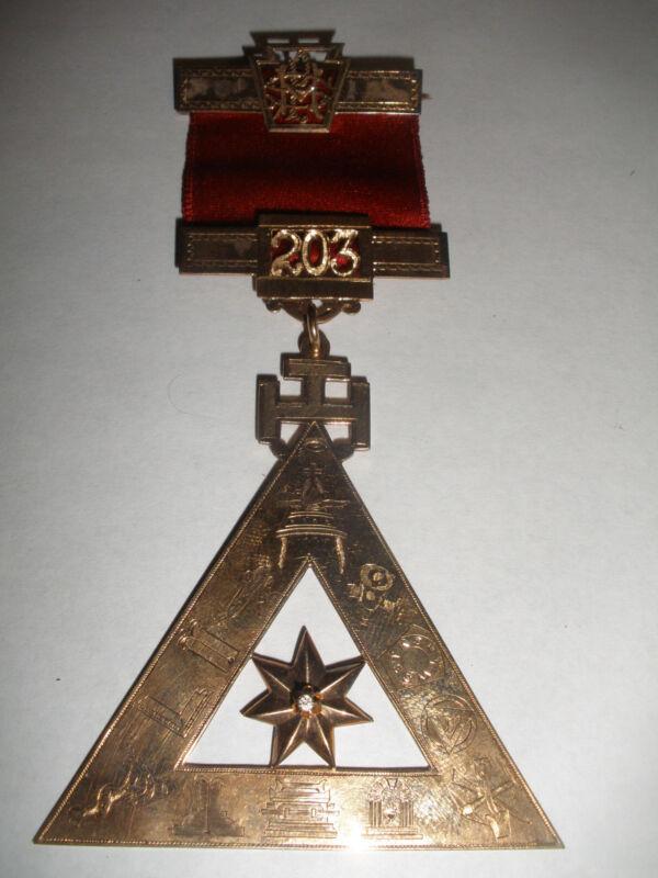RARE ANTIQUE 1887  MASONIC 10K GOLD WITH DIAMOND MEDAL LODGE 203