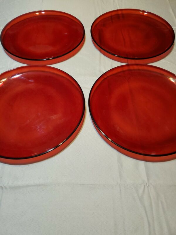 "4 Royal Ruby Red 10.5"" Dinner Plates Unmarked"