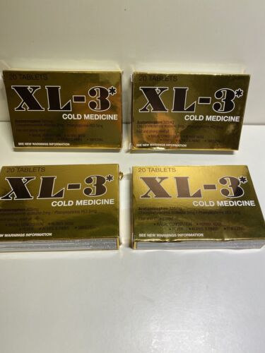 Lot Of 4 XL-3* Cold Medicine 20 Tablets Each Exp 02/2022 & B