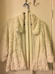 Brand new white fluffy coat with belt (with tags)