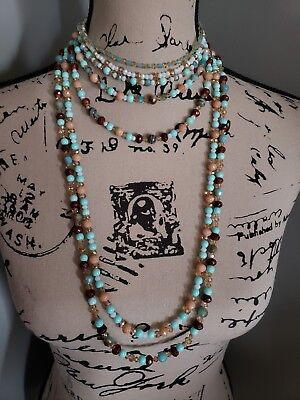 ( Multistrand beaded necklace bracelet set turquoise gemstone crystal choker)