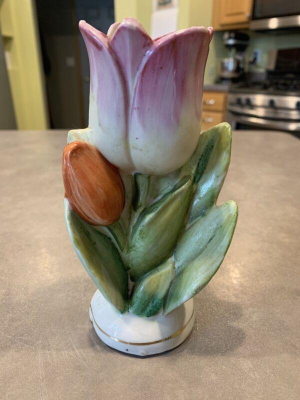 Vintage Figural Tulip Flower Porcelain Ceramic Vase Hand Painted Japan Pink Gree