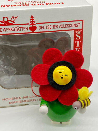 Steinbach Nutcracker Ornament Red Flower w/Bee, with Steinbach box