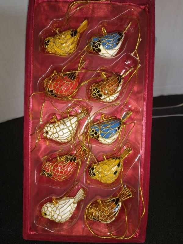 VINTAGE Enamel Cloisonne BIRD Christmas Ornaments Gold Tone.  Set of 10