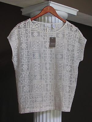 CHICO'S Natural Open Stitch Lace Sheer Adrienne Shirt Size 1 (8-10) NWT