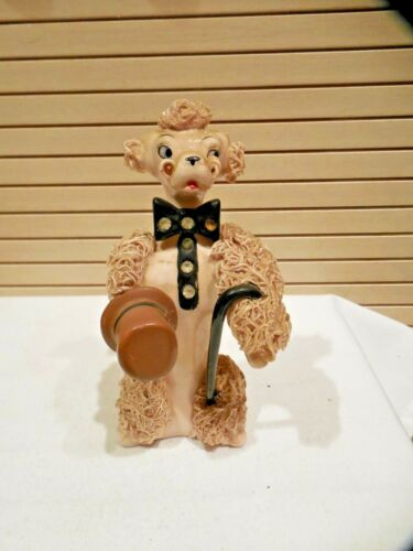 VINTAGE RELCO SPAGHETTI POODLE FIGURINE W/TOP HAT & CANE