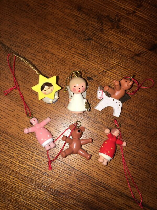 Vintage Christmas Miniature 1 Inch Wooden Ornaments Made In Germany Handpainted