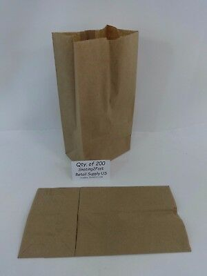 Qty 200 #4 Paper Brown Kraft Natural Sack Grocery Merchandise Retail Bags